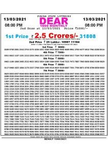 Punjab State Lottery Result Today 13/03/2021 Dear 1000 Monthly 8pm lottery Result pdf download