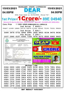 Lottery Sambad Live today 4pm 15/03/2021 Nagaland State Lottery Result Pdf File Download