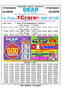 Lottery Sambad Live today 4pm 17/03/2021 Nagaland State Lottery Result Pdf File Download