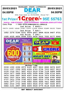 Lottery Sambad Live today 4pm 20/03/2021 Nagaland State Lottery Result Pdf File Download