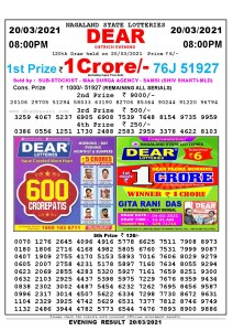Lottery Sambad Live Result 8pm 20/03/2021 Evening Nagaland State Lottery Result Pdf Download