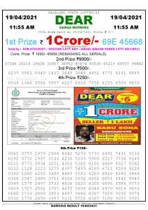 Lottery Sambad 11:55 am 26/03/2021 Morning Sikkim State Lottery Result Pdf DownloadLottery Sambad 11:55 am 19/04/2021 Morning Sikkim State Lottery Result Pdf Download