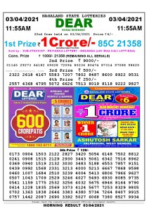 Lottery Sambad 11:55 am 26/03/2021 Morning Sikkim State Lottery Result Pdf DownloadLottery Sambad 11:55 am 03/04/2021 Morning Sikkim State Lottery Result Pdf Download