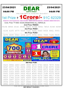 Lottery Sambad Live today 4pm 23/04/2021 Nagaland State Lottery Result Pdf File Download