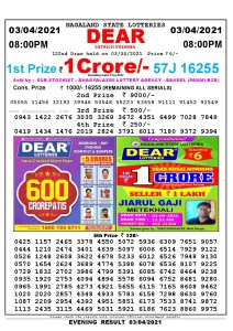 Lottery Sambad Live Result 8pm 03/04/2021 Evening Nagaland State Lottery Result Pdf Download