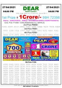 Lottery Sambad Live today 4pm 27/04/2021 Nagaland State Lottery Result Pdf File Download
