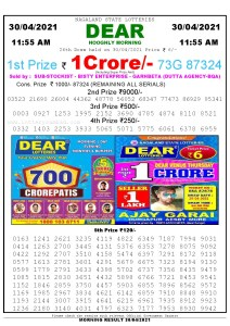 Sambad 11:55 am 30/04/2021 Morning Sikkim State Lottery Result Pdf Download