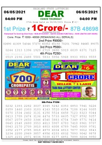 Lottery Sambad Live today 4pm 06/05/2021 Nagaland State Lottery Result Pdf File Download