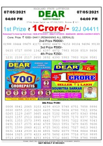 Lottery Sambad Live today 4pm 07/05/2021 Nagaland State Lottery Result Pdf File Download