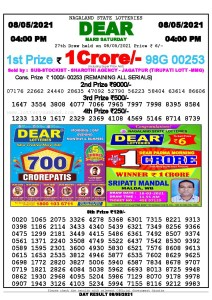 Lottery Sambad Live today 4pm 08/05/2021 Nagaland State Lottery Result Pdf File Download
