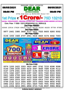 Lottery Sambad Live Result 8pm 08/05/2021 Evening Nagaland State Lottery Result Pdf Download