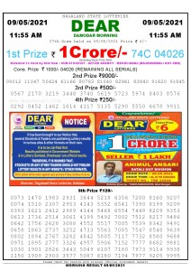 Sambad 11:55 am 09/05/2021 Morning Sikkim State Lottery Result Pdf Download