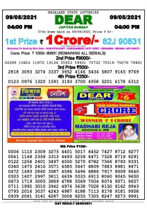 Lottery Sambad Live today 4pm 09/05/2021 Nagaland State Lottery Result Pdf File Download