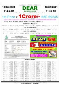 Sambad 11:55 am 10/05/2021 Morning Sikkim State Lottery Result Pdf Download
