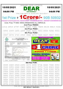 Lottery Sambad Live today 4pm 10/05/2021 Nagaland State Lottery Result Pdf File Download