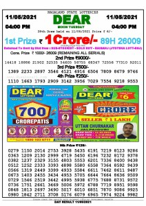 Lottery Sambad Live today 4pm 11/05/2021 Nagaland State Lottery Result Pdf File Download