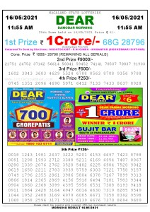 Sambad 11:55 am 16/05/2021 Morning Sikkim State Lottery Result Pdf Download