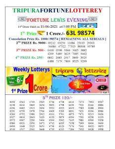 Tripura Lottery Result 11.06.2021 Today 7 PM Evening Result Pdf Download