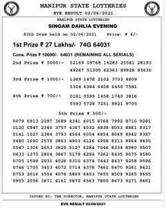 Manipur State Lottery Result (02.06.2021) Out now 07 pm pdf download
