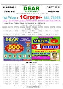 Lottery Sambad Live today 4pm 31/07/2021 Nagaland State Lottery Result Pdf File Download