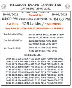 Mizoram State Lottery Result (29.07.2021) Out now 04:00 pm pdf download