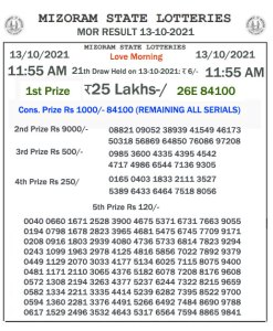 Lottery Sambad 11:55 am 13/10/2020 Morning Sikkim State Lottery Result Pdf Download