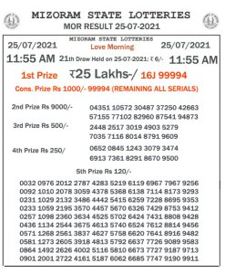 Mizoram State Lottery Result (25.07.2021) Out now 11:55 AM Morning Result pdf download