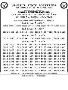 Manipur Lottery Result today 13/08/2021 singam 7pm pdf download