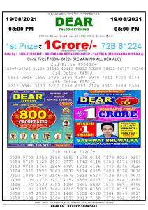 Lottery Sambad Live Result 8pm 19/08/2021 Evening Nagaland State Lottery Result Pdf Download