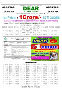 Lottery Sambad Live Result 8pm 02/08/2021 Evening Nagaland State Lottery Result Pdf Download