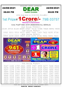 Lottery Sambad Live Result 8pm 24/08/2021 Evening Nagaland State Lottery Result Pdf Download