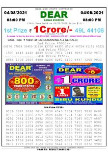 Lottery Sambad Live Result 8pm 04/08/2021 Evening Nagaland State Lottery Result Pdf Download