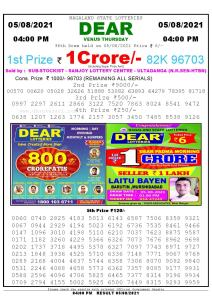 Lottery Sambad Live today 4pm 05/08/2021 Nagaland State Lottery Result Pdf File Download