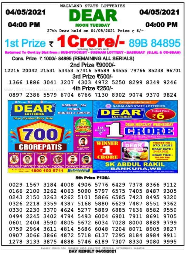 Dhankesari Lottery Sambad Result Today 4:00 PM 4.5.2021