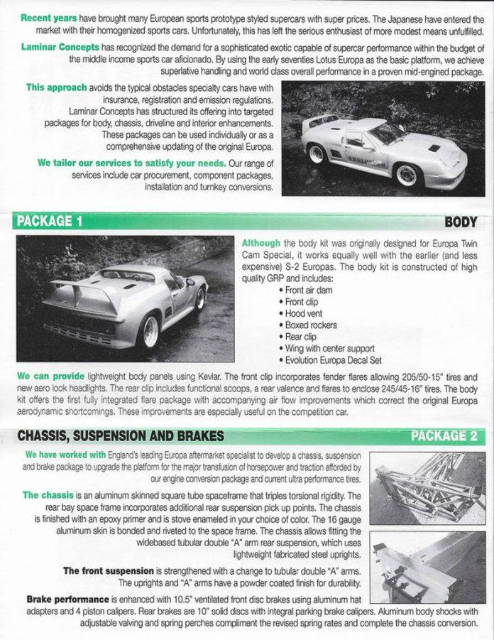 Laminar Concepts Lotus Europa brochure 2