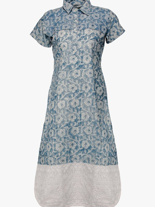 Faded Blue Cotton Kurti