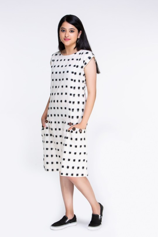 Ikat Dress with Buttons