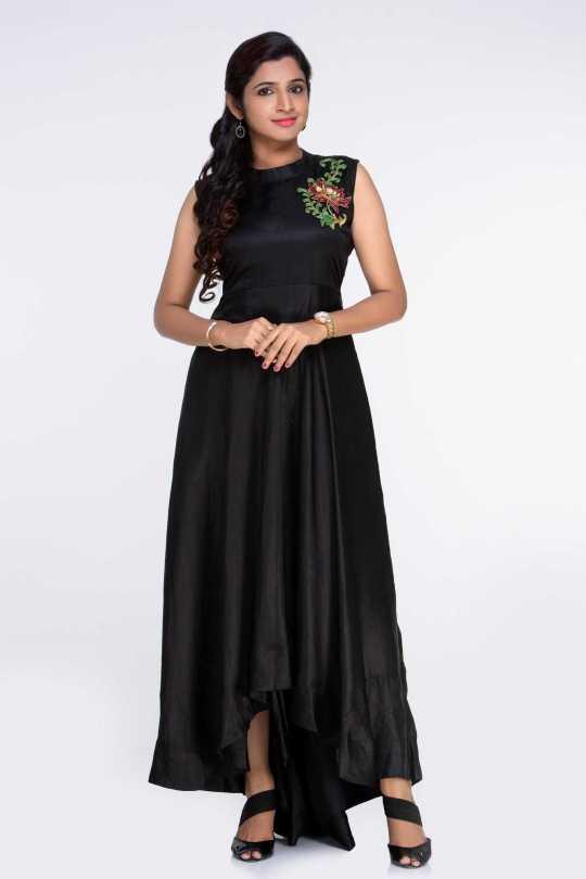 Black Line Satin Dress