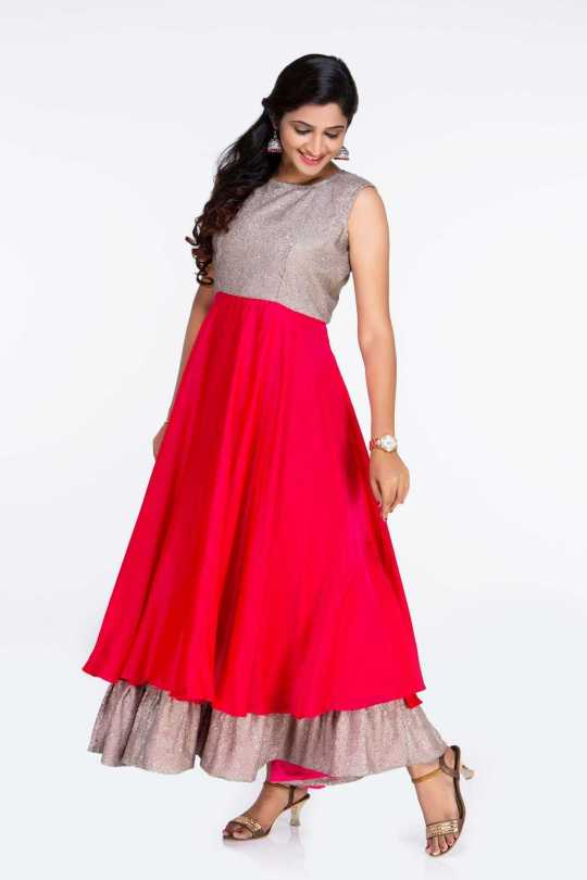 Pink and Gold Party Wear Dress
