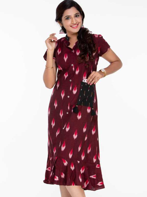 Red Ikat Indo Western Dress