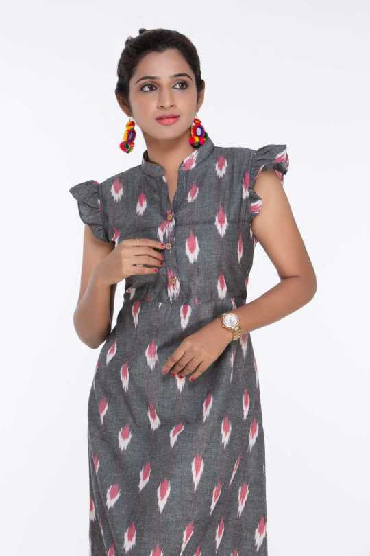Grey Ikat Knee Length Dress