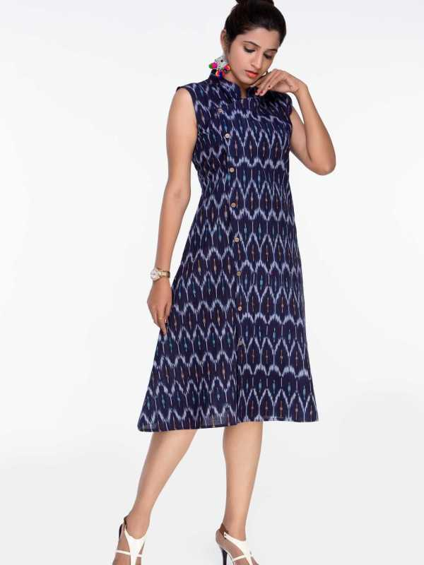 Navy Blue Ikat Dress