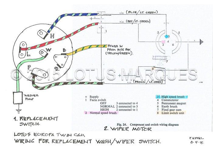 Lotus Europa TC Wash/wiper Switch Wiring Diagram