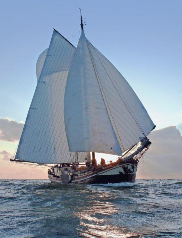 Sailing ship under sail