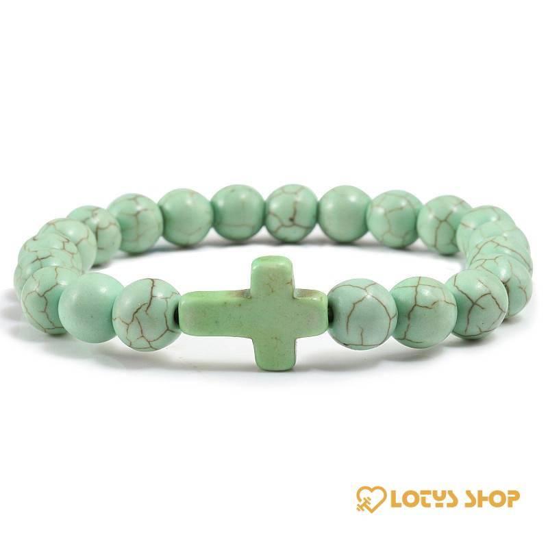 Men's Christian Cross Design Charm Bracelet Accessories Jewelry color: Apple Green|Black|Black Lava|Blue|Dark Green|Green|Light Blue|Marble|Matte Black|Red|White|White Cracked|Yellow