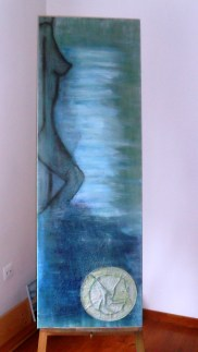 Woman Pigment & Mixed Media on Canvas 40x120