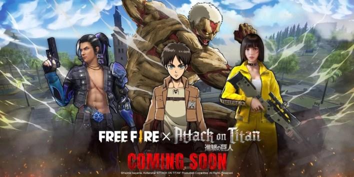 Attack On Titan e Free Fire - Imagem Promocional