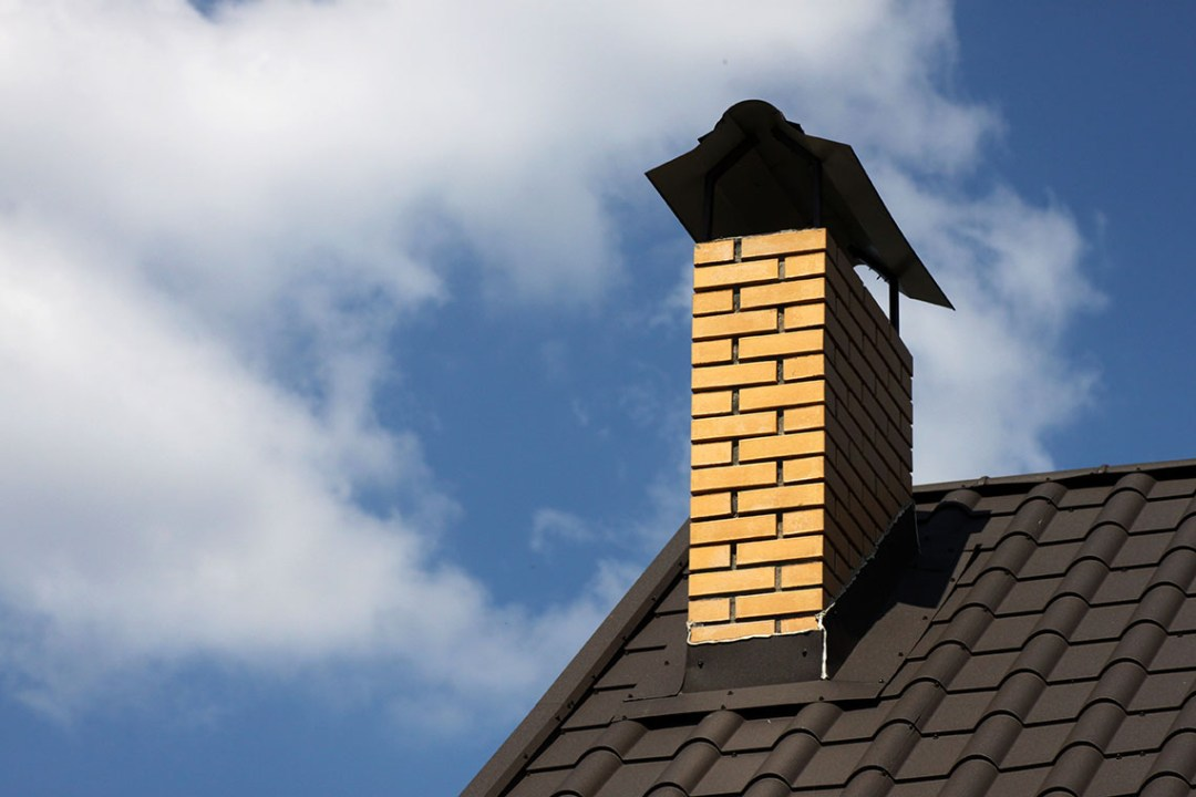 chimney on a roof of the house