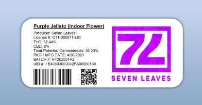 Seven Leaves - Purple Jellato (barcode label)