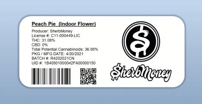 Sherb Money - Peach Pie (barcode label)